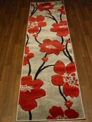 Modern Runners 60x220cm Aprox 8ft Hand Carved Super Quality poppy Rug Silver/Red